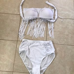 Other - Plus size white frilly bathing suit